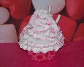 Pink Cheetah Fake Cupcake with White Icing, Straws, Sprinkles, Fairy Dust, great for Girls Room Decor, Party Favor, Photo Props