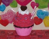 FAKE CUPCAKE, Chocolate, White, Pink,  Red,  Hearts Sprinkles Chocolate Candy Top great Photo Prop, Home Decor, Party Display