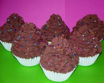 Set of 6 Fake Faux Chocolate Cupcakes with Rainbow Sprinkles for Birthday Party Favors, Toppers, Wrappers, Photo Props, Holders, Room Decor