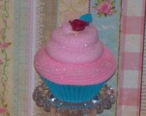 Fake Cupcake Photo Prop, Marie Antoinette Let Them Eat Cake, Pink, Aqua, Handmade Rose, Home, Kitchen Decor, Fake Food Display