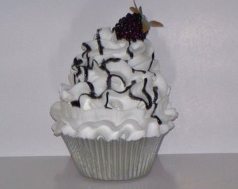 Blackberry Fake Cupcake, White Chocolate Frosting, Lightweight, Blackberry Syrup, Gourmet Fake Cupcake Food, Home Decor, Photo Props