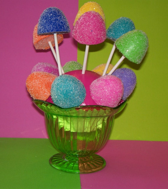 6 Candyland Fake Gumdrop Cake Pops Lollipops for Birthday Party Favors Decorations Photo Props Displays