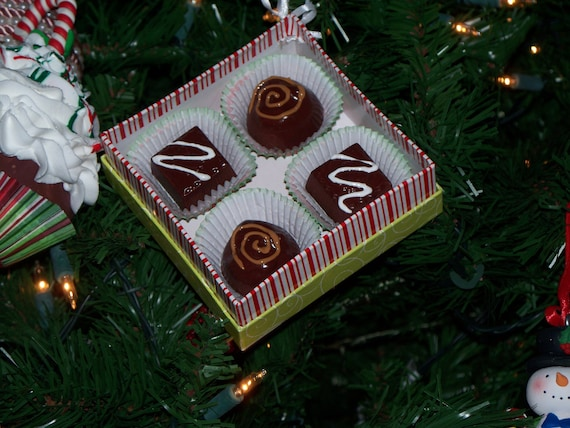Fake Chocolates Candy Ornament in Christmas Candy Box great for Christmas Tree or Holiday Decorations Photo Props
