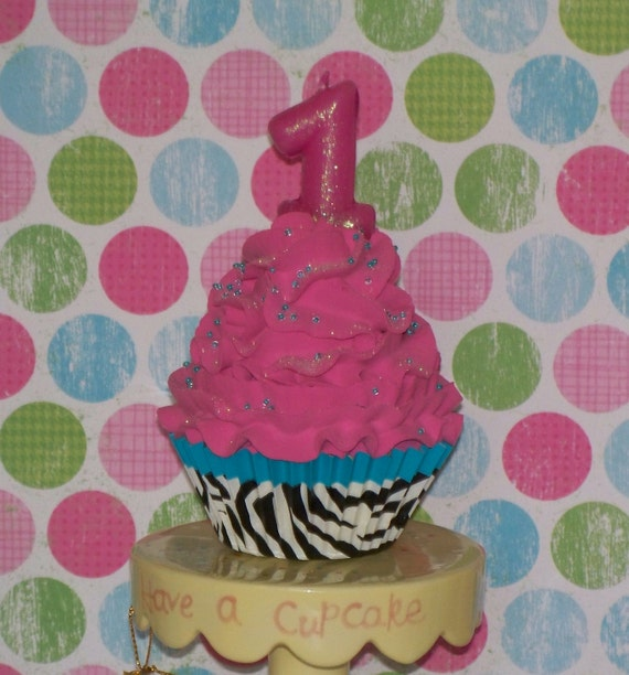 Fake Cupcake Photo Prop with Turquoise Trimmed Zebra Liner, Choose Number Candle 1, 2, or 3, Keepsakes, Party Decorations, Displays