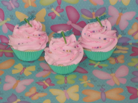 3 Mini Mint Green and Pink Fake Cupcakes with Glittery Dragonflies and Sprinkles great Photo Props, Unique Gifts, Party Decor, Home Decor
