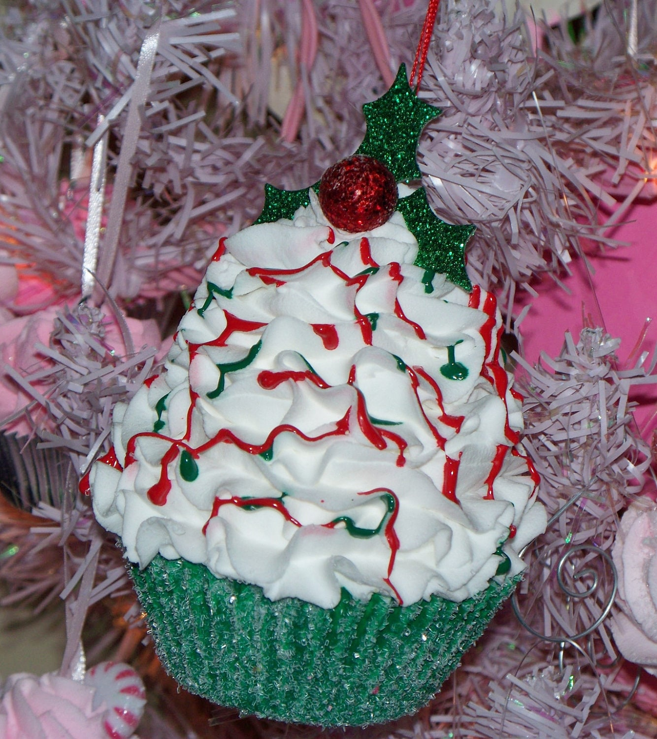 One Standard Holly Berry Fake Cupcake for Christmas Holiday Decoration Display Ornament Photo Prop