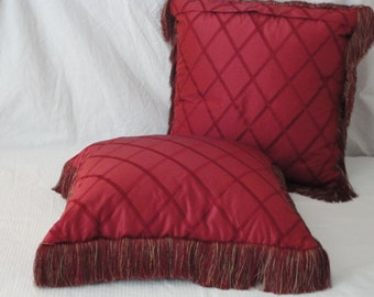 Gorgeous Designer Red  Embroidered Lattice 26 inch Pillow Cover