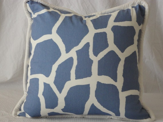 Gorgeous Euro Giraffe Print (periwinkle and white) Designer Pillow Cover