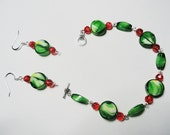 Beadwork Bracelet and Earring Set OOAK, Green / White Faceted Crystal Coin / Barrel Beads Accented with Red Round Crystal Beads