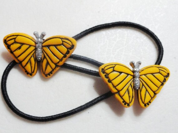 Black Ponytail Holder with Beautiful Orange / Yellow Butterfly