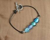 Blue Mix Silver Foil Glass Beaded Leather Bracelet