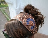 Dark Brown Headband -- made from Cambodian fabric