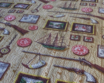 "Vintage Barkcloth Hunting Lodge Man Cave Decor Cabin Country Western 60"" x 36"""