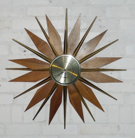 Retro Sunburst Wall Clock Teak Phinney Walker Eames Era