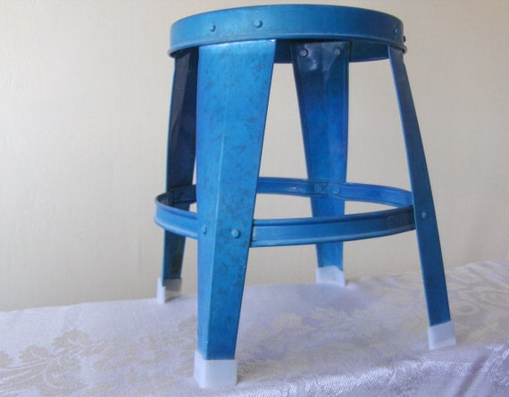 Vintage Metal Stool - Child's - Foot - Lightweight - Turquoise Blue