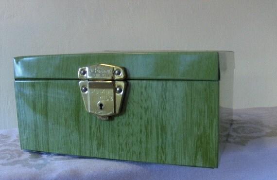 Vintage Green Metal Porta File in paneled wood style - With Lock Key