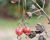 Rust Orange Faceted Stone Dangle Earring with Antique Brass Butterfly