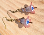 Hand Dyed Lucite Tube Flower earring with Antique Brass Findings