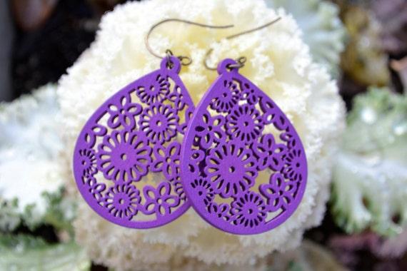 Purple Wooden Hollow Series Teardrop Earrings with Antique Brass Ear Wire