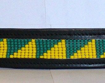 Horse Bridle Brow Band - Green & Yellow small triangle-Full Size