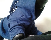 """OOAK, Upcycled Blue Merino Wool Hoodie Dog Sweater, """"AM I BLUE"""" Size S, by Barky McRufferson"""