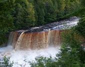 Waterfalls, Upper Falls-Photo Tahquamenon Falls State Park Brown White Green Michigan's Upper Peninsula-Fine Art Print