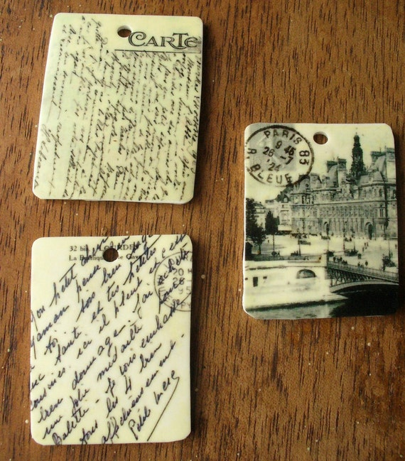 Charm - Vintage Travel Postcards from Paris 2  Charms for Steampunk and Mixed Media Art