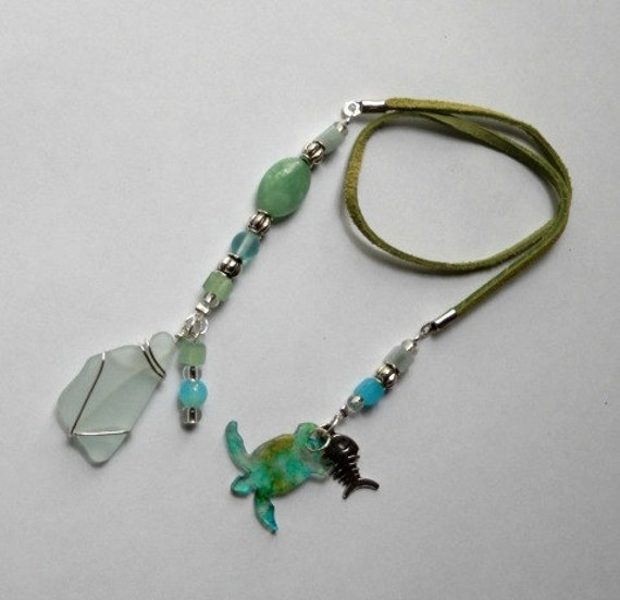 BookMark - Sea Turtle Green Sea Glass with Wire Wrapping