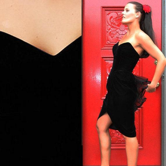 Vintage 90s Black Widow NEw Years Eve Dress I Size 7/8 USA Small
