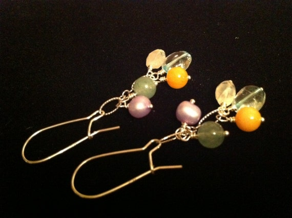 Reserved for Connie - Think SPRING - Sterling silver gemstone earrings