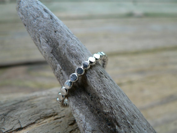 """Sterling Silver Beaded  """"Stacker"""" Ring - Size 9"""