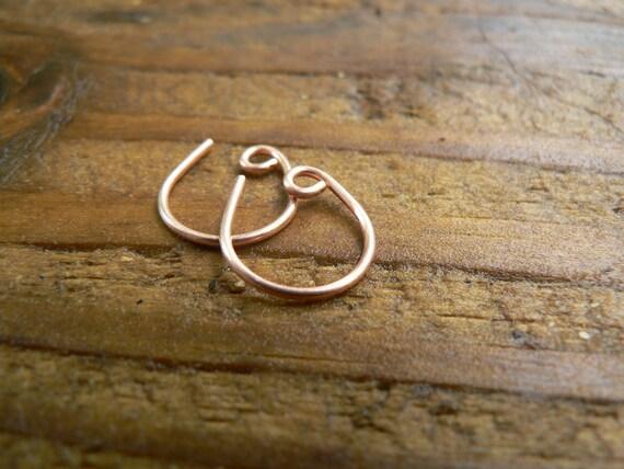 Tiny, Shiny Backwards Copper Hammered Hoops.