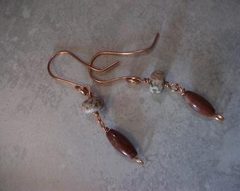 Copper, Magnesite and Jasper Dangle, Natural Stone Copper Earrings