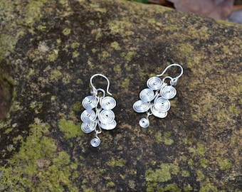 Ancient Spirals Silver Earrings, Celtic Style Silver Earring