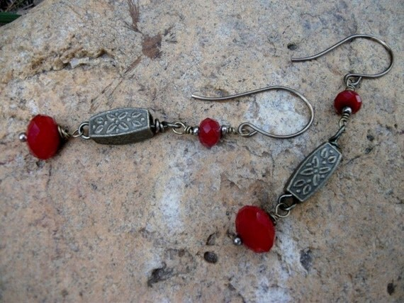 Red Czech Crystal and Brass Earrings