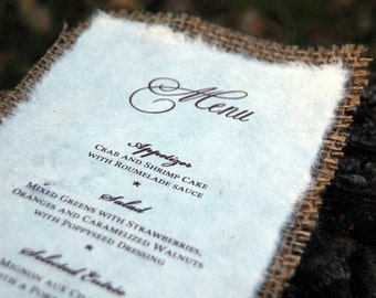 Premade Rustic Burlap Menu- Barn Wedding Menu