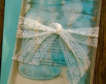 Do It Yourself  Mason Jar, Lace and Burlap Wedding Invitation - Rustic Barn Wedding