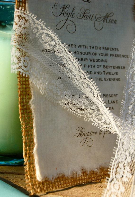 DIY  Lace and Real Burlap Wedding Invitation - Rustic Barn Wedding