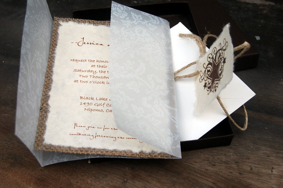 diy wedding invites rustic%0A Burlap and Vellum Lace Wedding Invitation in boxRustic Barn Wedding