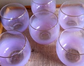 Vintage Roly Poly Pink Cocktail Glasses Barware