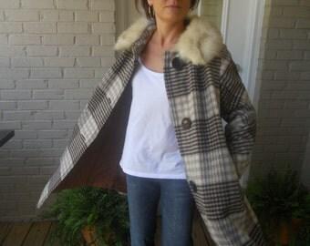 Plaid Swing Coat with Fur Collar