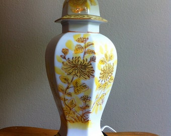 Lamp Hollywood Regency Style Chinoiserie Yellow Gold White