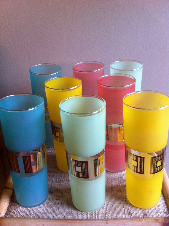 Vintage Barware Glasses Aqua Pink Mint Yellow RESERVED for Katherine
