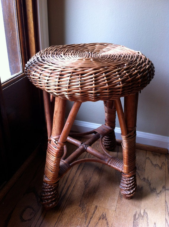 Rattan Wicker Stool Vintage Seat Chair Plant Stand