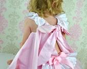 Girls Baby Toddlers 12-18 mo. Peek a Boo Sundress & Ruffled Panties Ballet Pink and white 2 piece