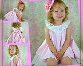 Flower girl Dress Twirl dress & Ruffled Bloomers Ballet Pink and white 2 piece Newborn thru18 mo
