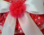 Childrens Clothing Pink Ruffled Baby Bloomers Custom Hot Pink polka dots Newborn thru 24 mo.