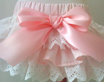 Girls Baby Ruffled bloomers Custom Ballet Pink Newborn - 24 months diaper covers