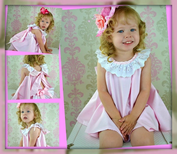 Flower girl Dress Twirl dress & Ruffled Bloomers Ballet Pink and white 2 piece Newborn thru18 mo