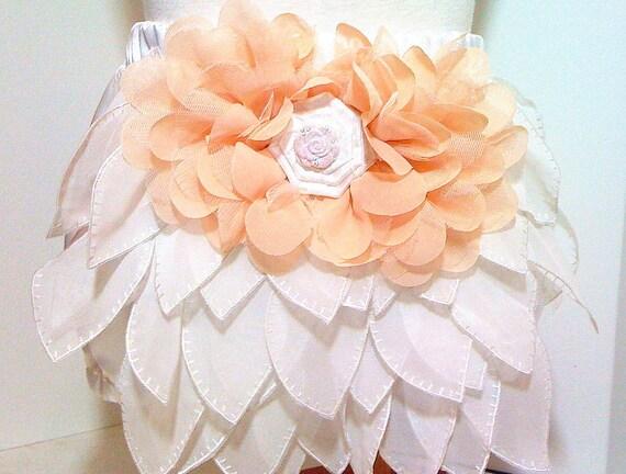 White Satin Ruffled bloomers with headband Newborn thru 24 month